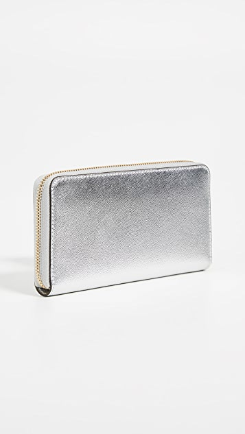 Tory Burch Robinson Metallic Zip Continental Wallet