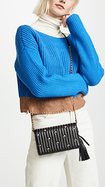 Tory Burch Star Stud Flat Wallet Crossbody Bag