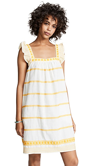 Tory Burch Embroidered Ruffle Sleeveless Dress