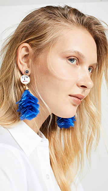 Tory Burch Conversational Feather Drop Earrings