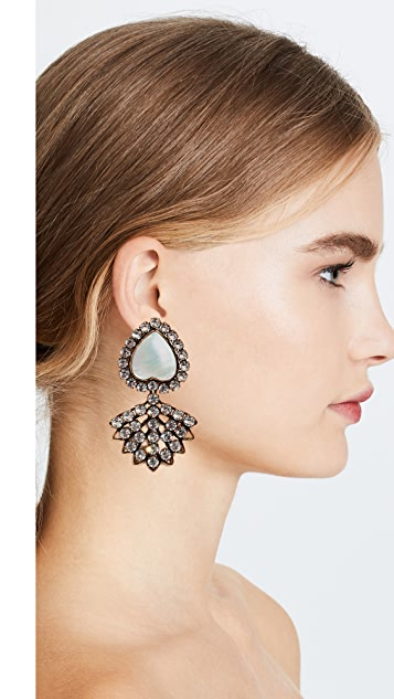 Tory Burch Crystal and Mother of Pearl Heart Earrings