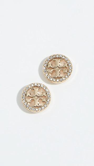 Tory Burch Crystal Logo Circle Stud Earrings