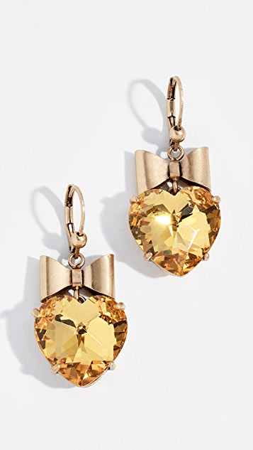 Tory Burch Heart And Bow Earrings - Yellow