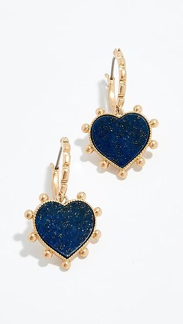c87f74fe5 Tory Burch Semi Precious Heart Charm Earrings   SHOPBOP