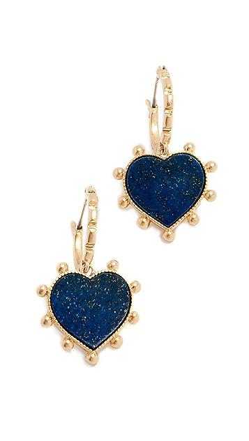 Tory Burch Semi Precious Heart Charm Earrings