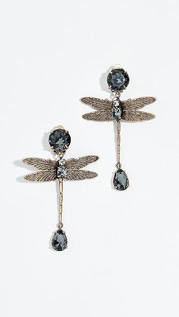 Tory Burch Dragonfly Stone Earrings - Brass/Black Diamond