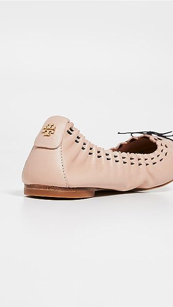 Tory Burch Эластичные балетки с зубчатой отделкой