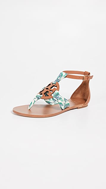 Tory Burch Miller Scarf Sandals - Tan/Blue Meridian