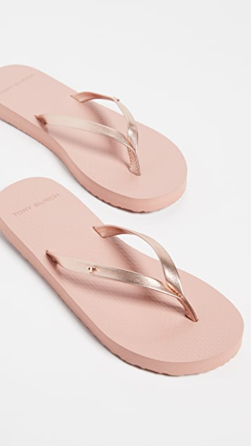 Tory Burch Metallic Leather Flip Flops