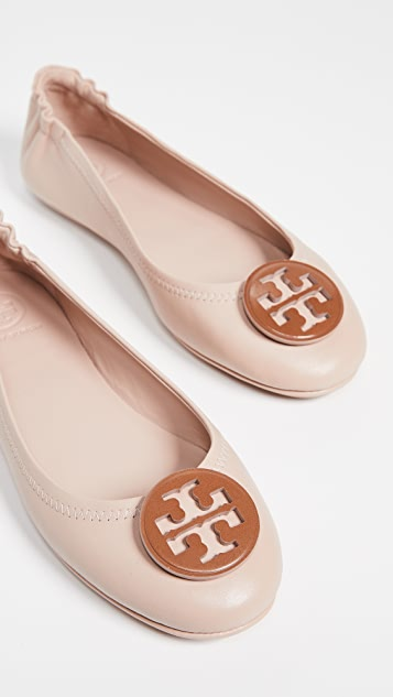 daa8893550f8 Tory Burch Minnie Travel Ballet Flats with Logo ...