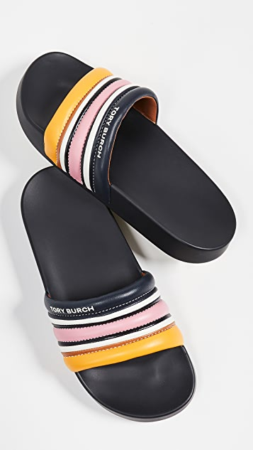 Tory Burch Quilted Stripe Slide Sandals