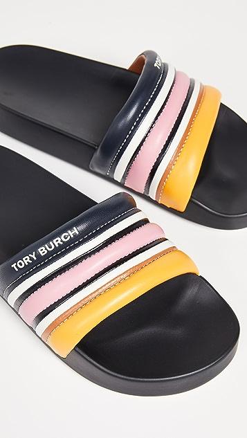 Tory Burch Стеганые сандалии без застежки в полоску