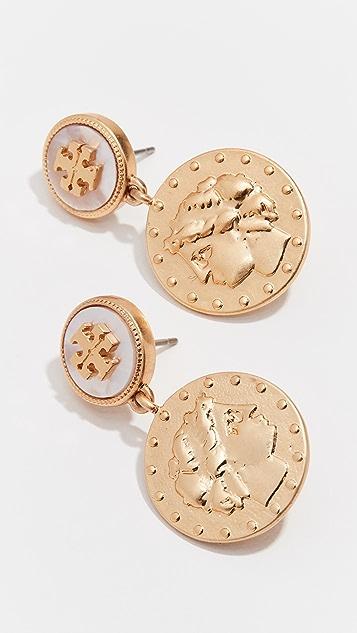 Coin Short Drop Earrings by Tory Burch