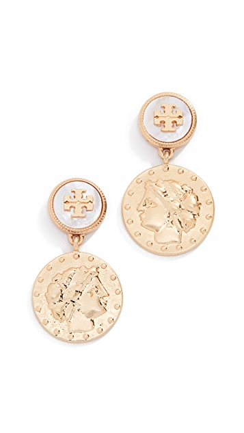 Tory Burch Короткие серьги-капли с монетами