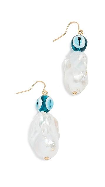 Tory Burch Glass Pearl and Evil Eye Earrings