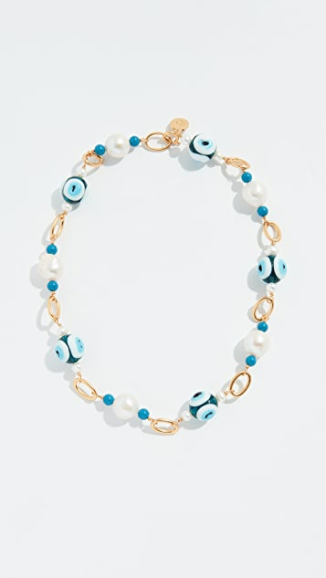 Tory Burch Glass Pearl and Evil Eye Short Necklace