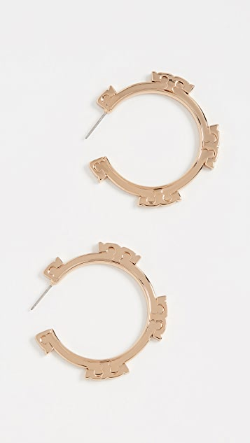 Tory Burch Metal Serif Stripe Hoop Earrings