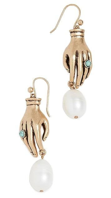 Tory Burch Серьги Hand and Pearl