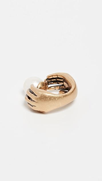 Tory Burch Pearl and Hand Ring