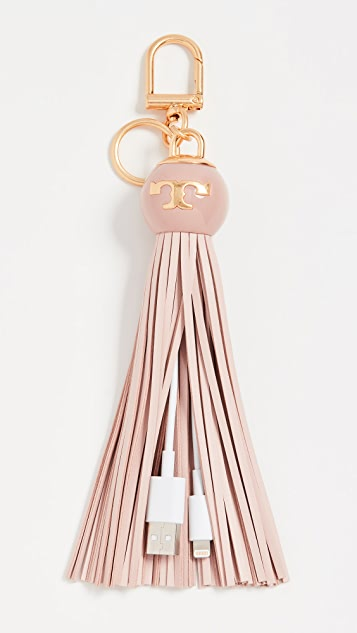 Tory Burch Charger Tassel Key Ring - Shell Pink