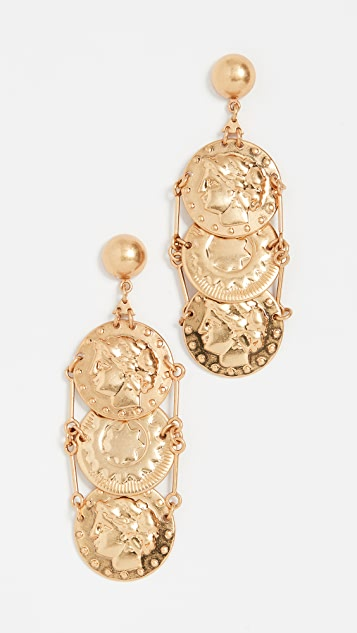 Tory Burch Coin Drop Earrings - Brass