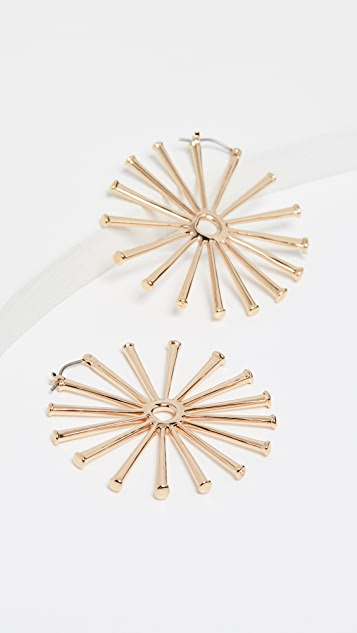 Tory Burch Horsehoe Nail Hoop Earrings - Tory Gold