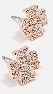 토리버치 귀걸이 Tory Burch Crystal Logo Stud Earrings,Rose Gold/Crystal