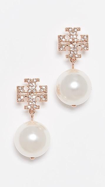 Tory Burch Crystal Pearl Logo Drop Earrings