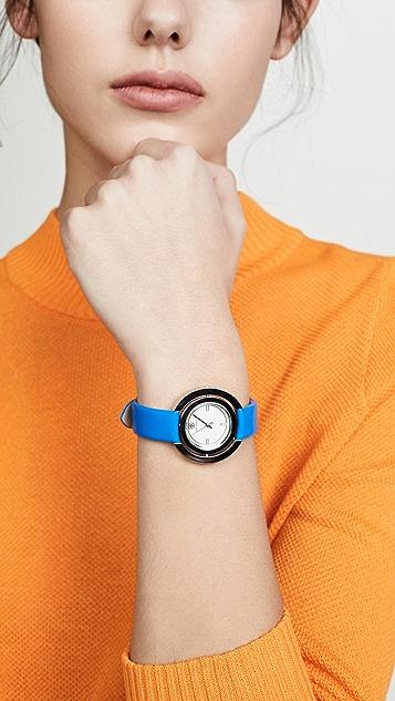 Tory Burch Кожаные часы Grier с циферблатом диаметром 34мм