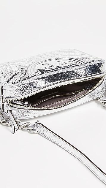 Tory Burch Fleming Distressed Metallic Camera Bag