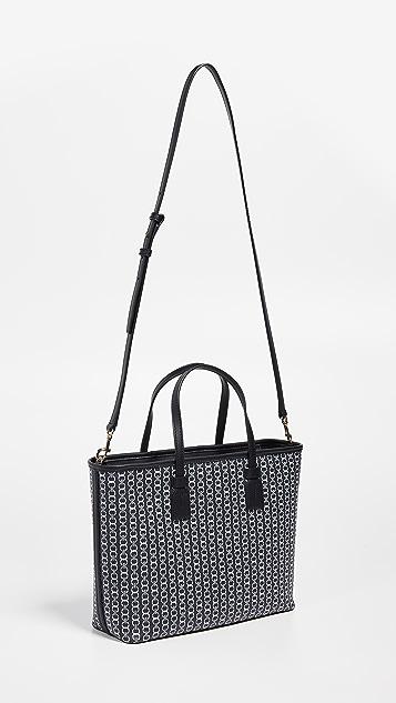 Tory Burch Маленькая объемная сумка Gemini Link с короткими ручками из холщовой ткани