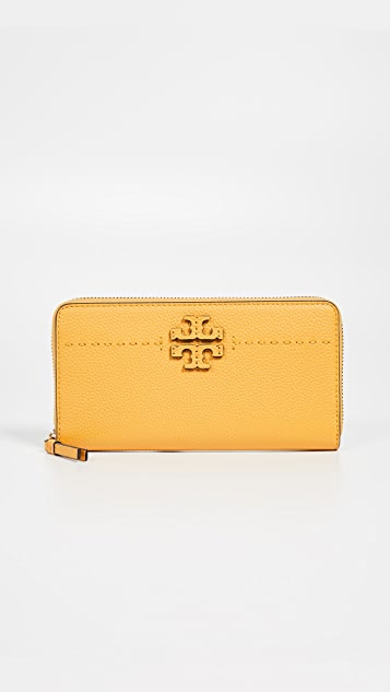 Tory Burch Mcgraw Zip Continental Wallet - Daylily