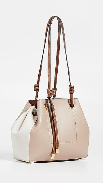 Tory Burch Маленькая универсальная объемная сумка с короткими ручками и цветными блоками Caroline