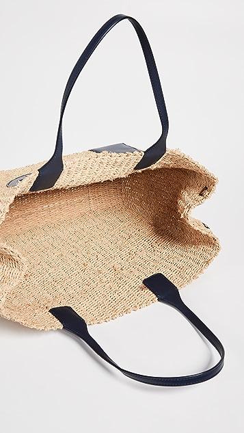 Tory Burch Соломенная объемная сумка с короткими ручками Ella