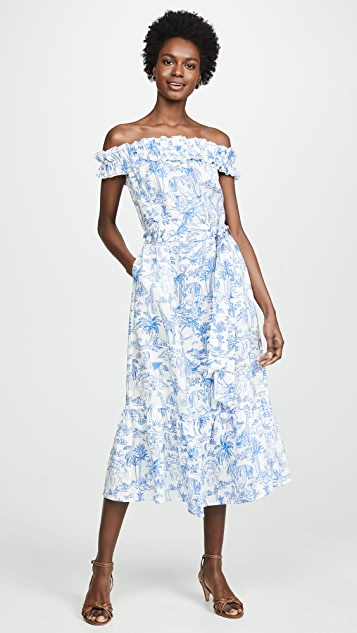 Tory Burch Printed Ruffle Dress - Ivory Far & Away