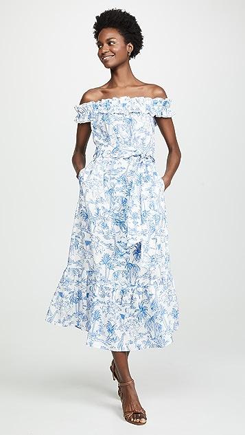 Tory Burch Платье с оборками и принтом