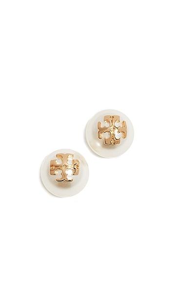 Tory Burch Crystal Pearl Stud Earrings