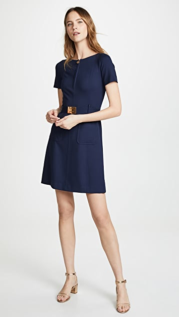Tory Burch Short Sleeve Fit-and-Flare Dress