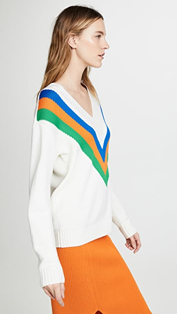 Tory Burch Colorblock V Sweater