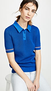 Tory Burch Mesh Polo Sweater