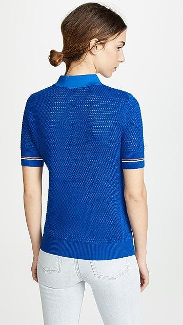 Tory Burch Mesh Polo Sweater