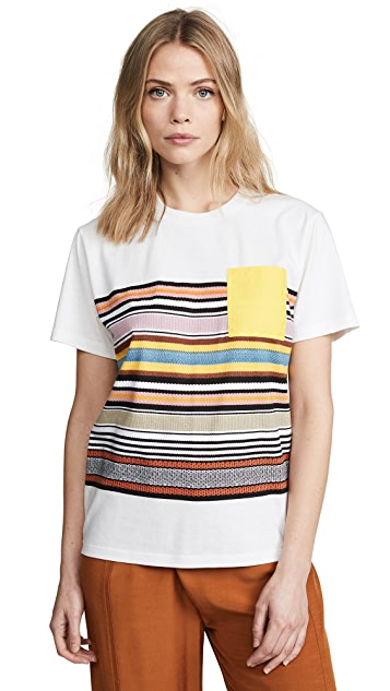 Tory Burch Patch Pocket Striped T-Shirt