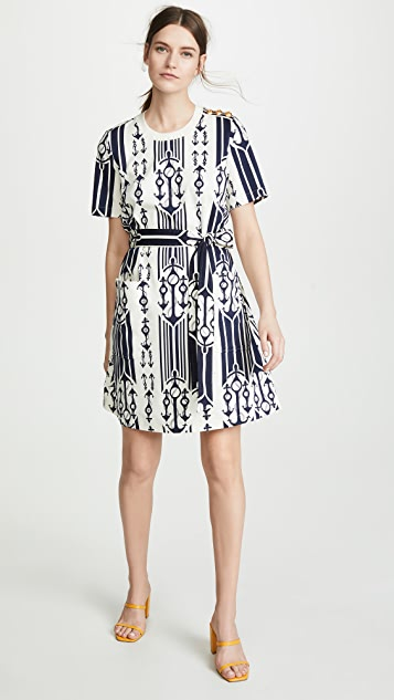 Tory Burch Belted T-Shirt Dress - Seafaring Stripe