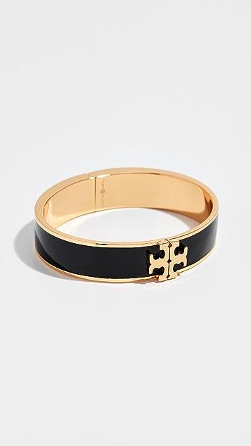 Tory Burch Raised Logo Enamel Hinged Bracelet