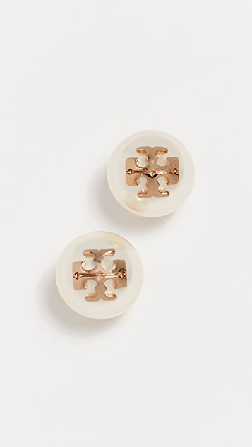 Tory Burch Crystal Pearl Stud Earrings