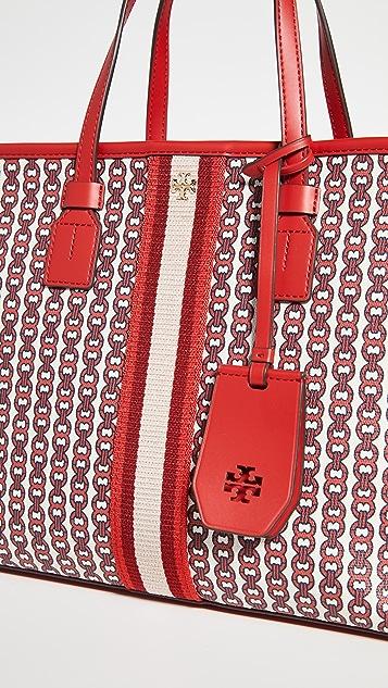 Tory Burch Небольшая объемная сумка Gemini Link с короткими ручками из холщовой ткани