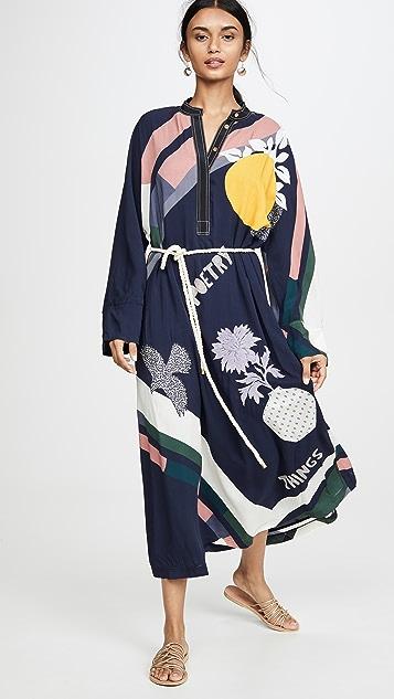 Tory Burch 围巾印花刺绣连衣裙