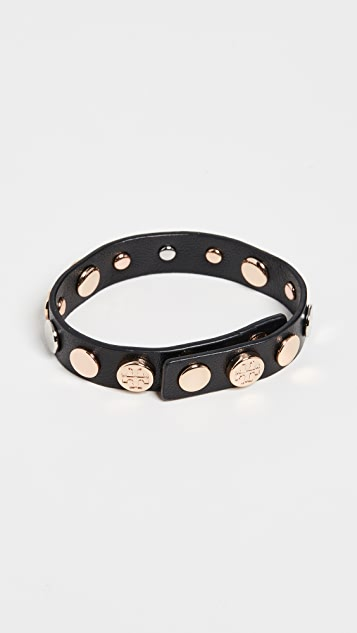 Tory Burch Logo Studded Single Wrap Bracelet
