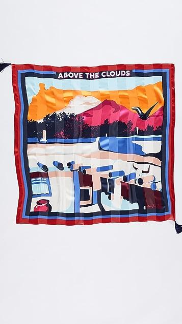Tory Burch Above The Clouds 真丝方形围巾