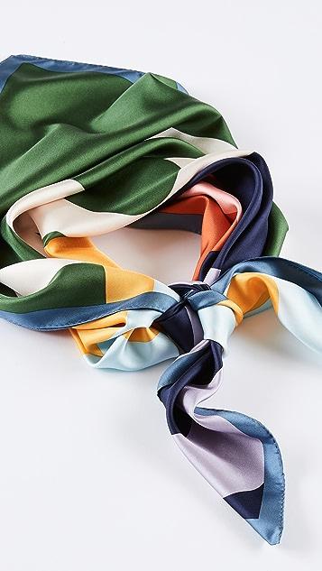 Tory Burch 徽标真丝方形围巾